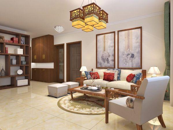 客厅咖啡色茶几中式风格装潢图片