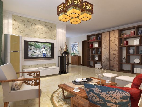 客厅黄色地砖中式风格装修设计图片