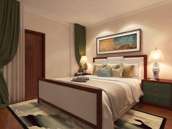 卧室绿色床头柜中式风格装潢设计图片