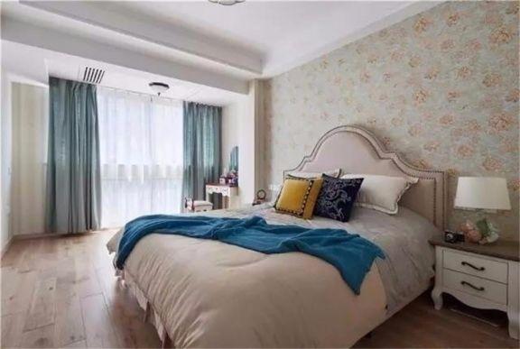 卧室蓝色窗帘美式风格装修图片