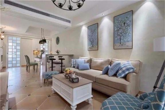 客厅白色茶几美式风格装修设计图片