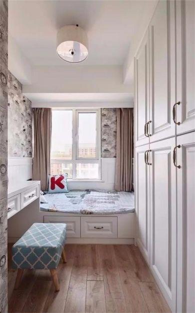 儿童房白色榻榻米美式风格装饰设计图片