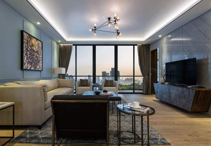 客厅咖啡色电视柜现代简约风格装修效果图