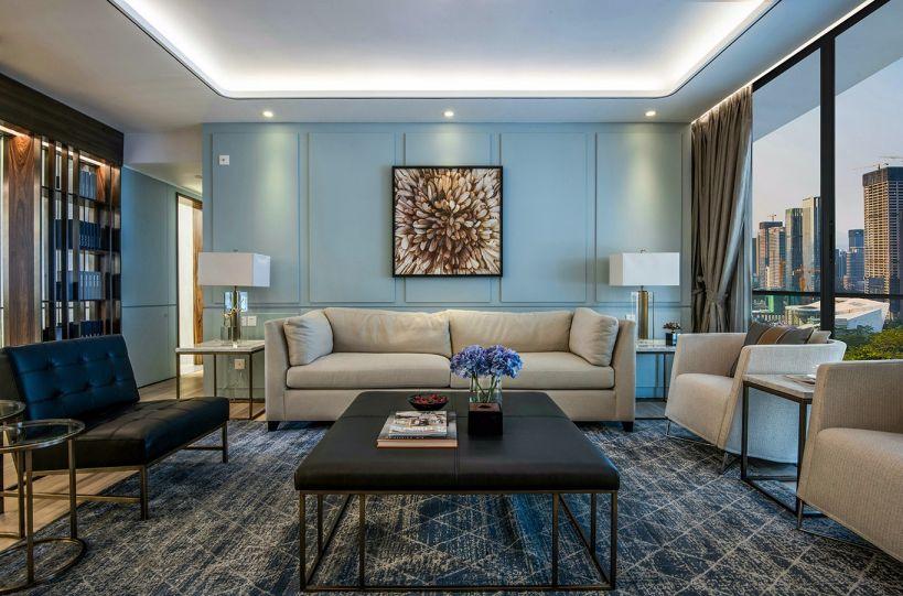 客厅黑色茶几现代简约风格装饰效果图