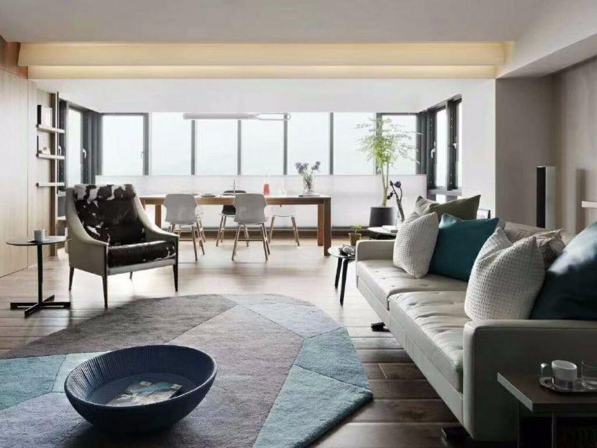 客厅白色榻榻米现代简约风格装潢图片