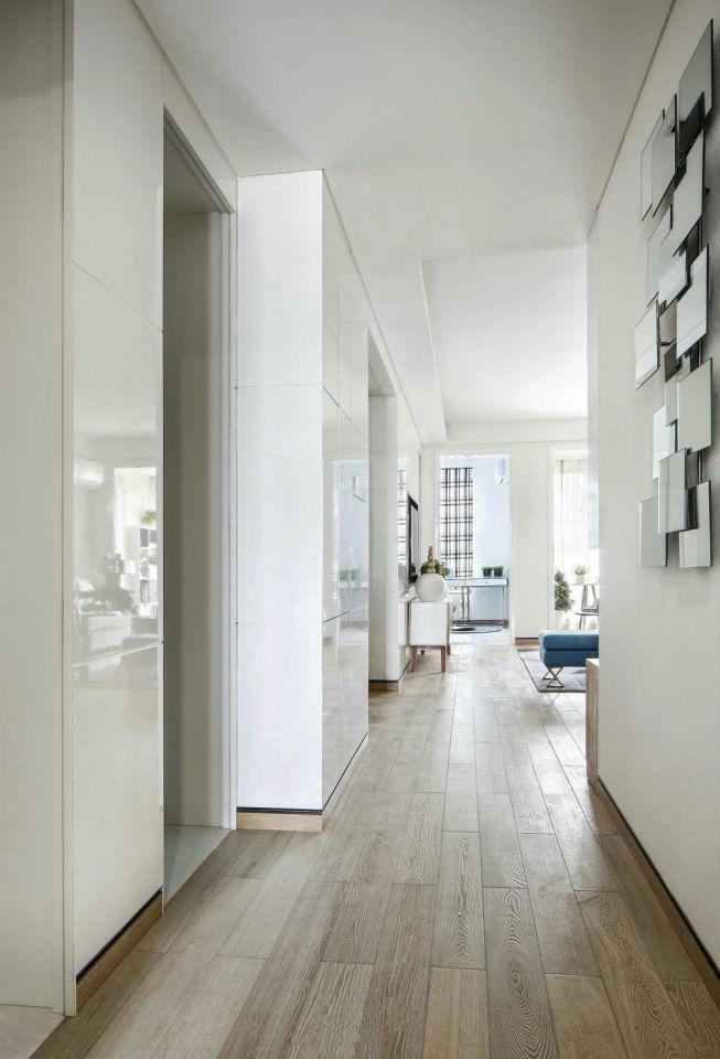 玄关白色背景墙现代简约风格装潢图片