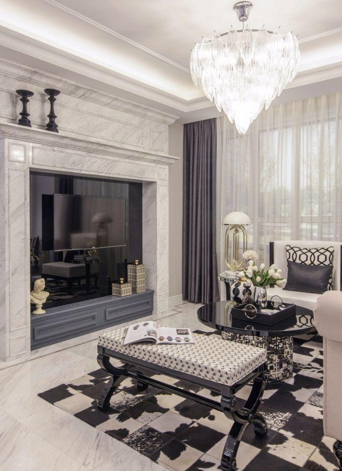 客厅灰色电视柜简欧风格装修效果图