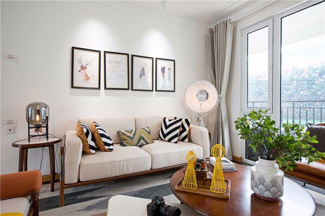 客厅灰色窗帘北欧风格装饰效果图