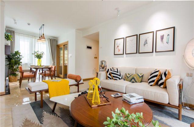 客厅米色地砖北欧风格装修图片