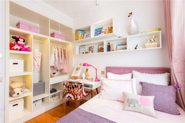 儿童房粉色床北欧风格装潢图片