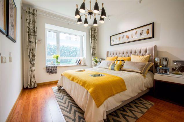 卧室白色床头柜北欧风格装饰设计图片
