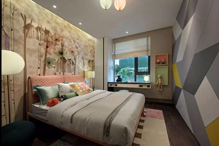 儿童房白色窗帘现代简约风格装修设计图片