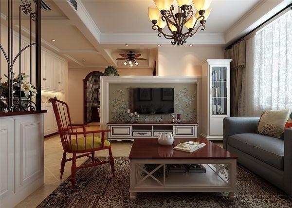 客厅白色电视柜美式风格装修图片
