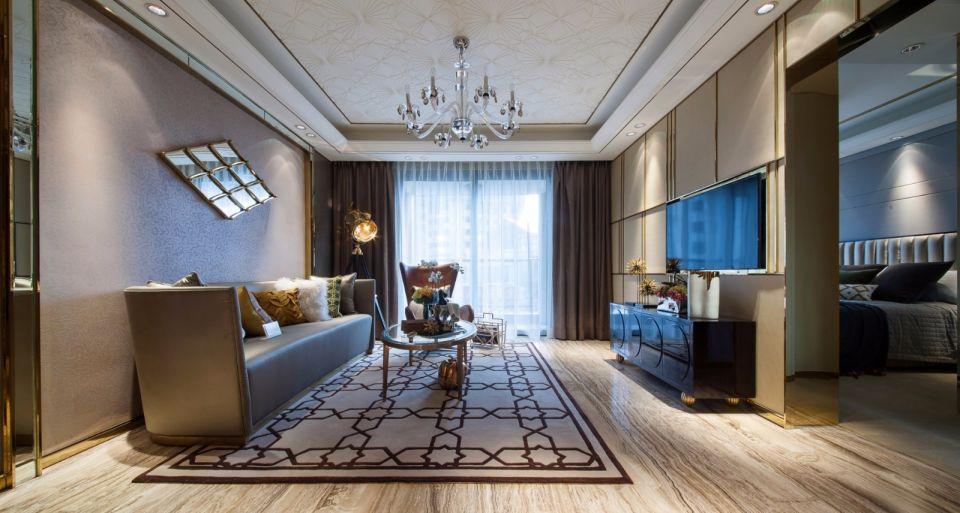 客厅米色吊顶现代风格装修设计图片