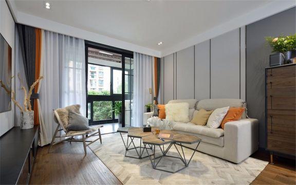 现代风格94平米三室一厅新房装修效果图