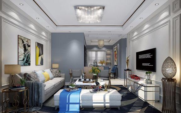 现代简约风格120平米三室通厅新房装修效果图