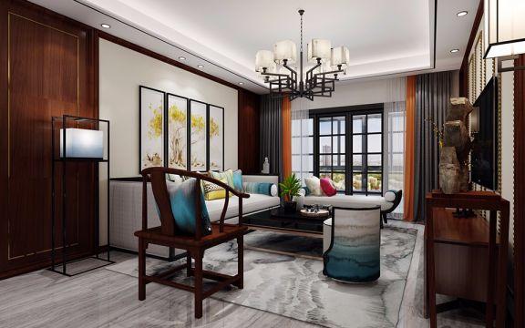 新中式风格95平米两室两厅新房装修效果图