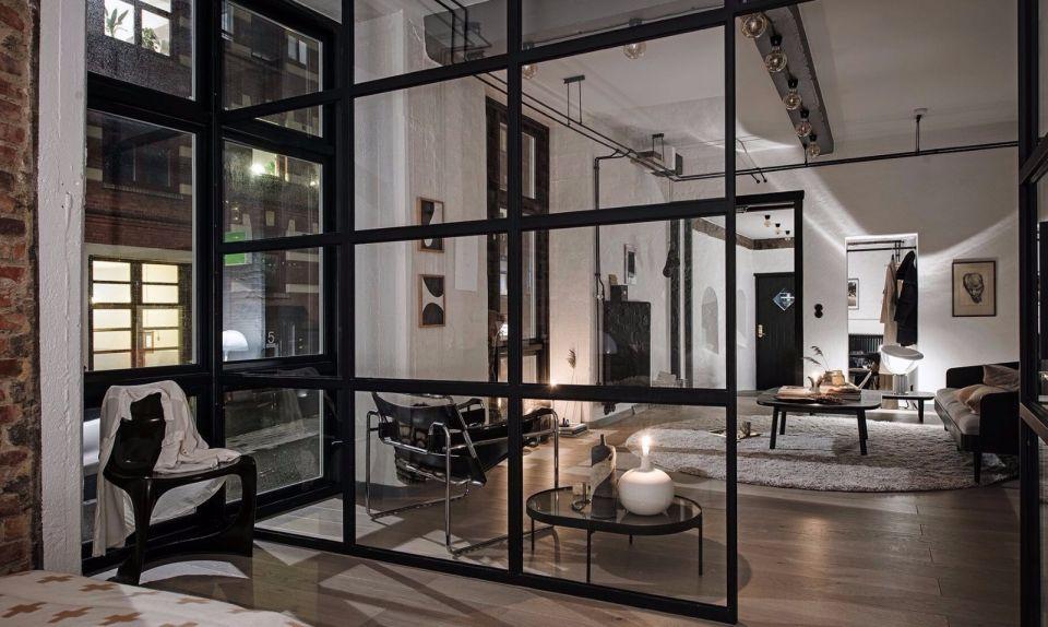 客厅黑色隔断北欧风格装饰图片