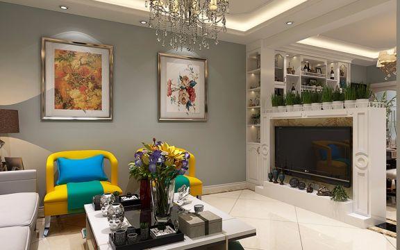 86平米二居室简约欧式风格装修效果图