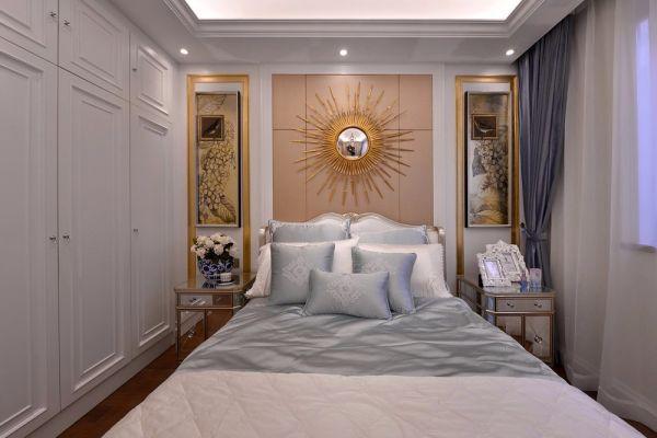 卧室蓝色窗帘效果图图片