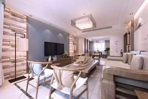 现代中式风格98平米两室两厅新房装修效果图