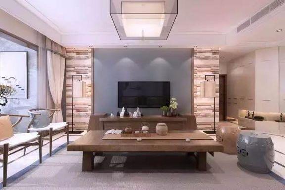2019现代中式客厅装修设计 2019现代中式电视柜装修效果图片