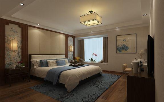 古朴卧室窗帘装潢设计图片