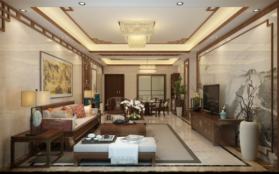 豪华客厅中式装饰设计