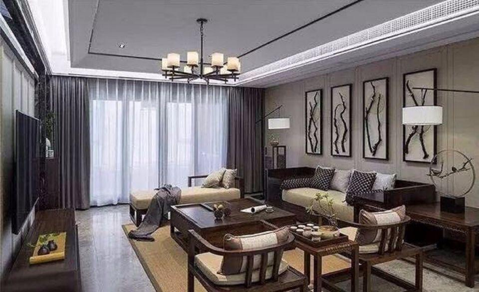 108㎡新中式风格两室一厅室内装修效果图