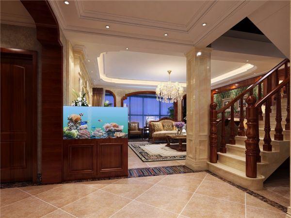 完美美式黄色楼梯室内装修设计