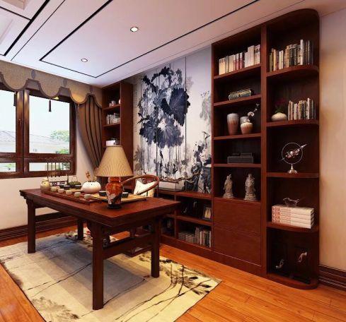 128平米中式三室两厅室内装修效果图