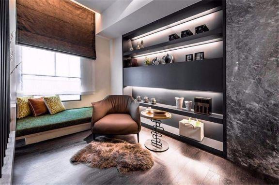 书房黑色书架现代简约风格装饰设计图片