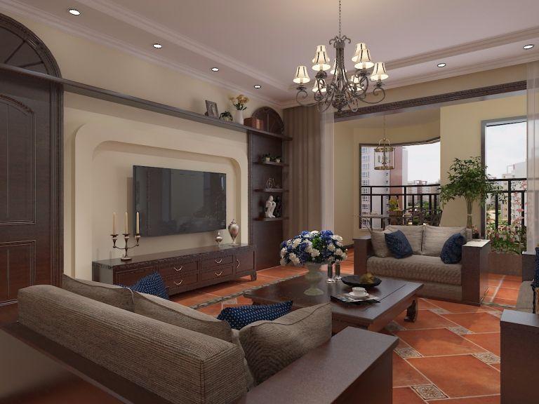 158平米三居室美式风格装修效果图