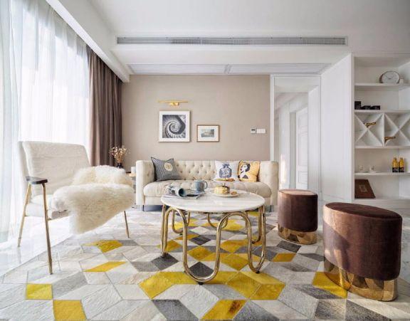 长江紫都124平现代美式风格三居室装修效果图