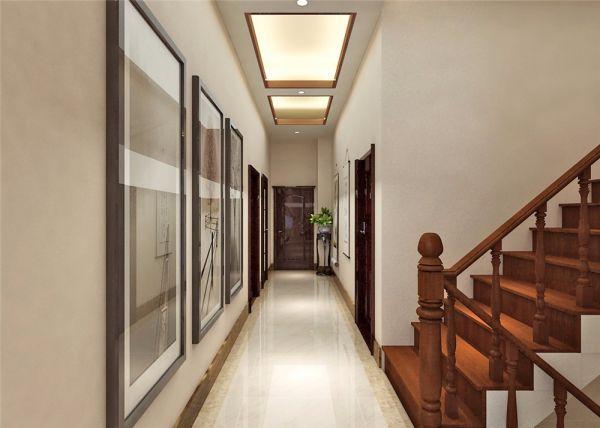 设计精巧新中式红色楼梯装饰效果图