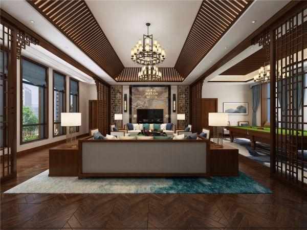 新中式风格800平米别墅新房装修效果图