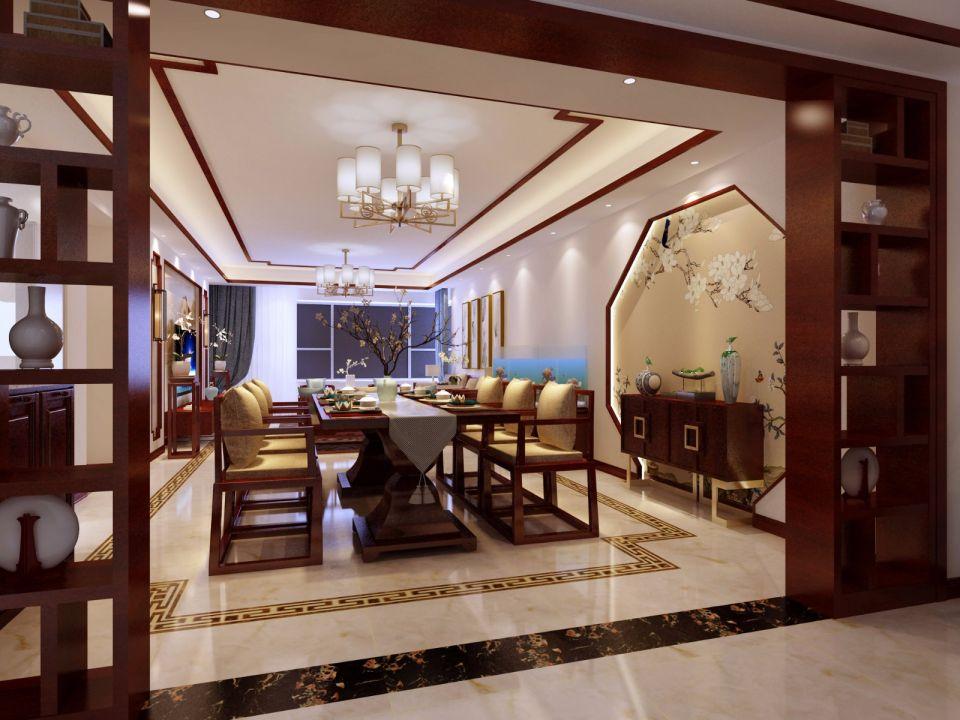 新中式风格280平米复式新房装修效果图