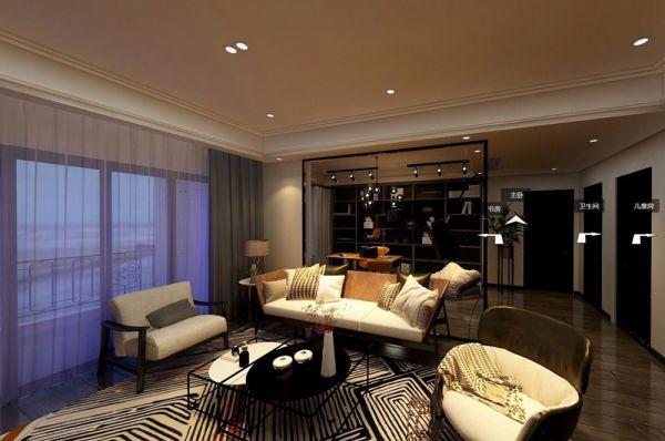客厅灰色窗帘现代风格装饰效果图