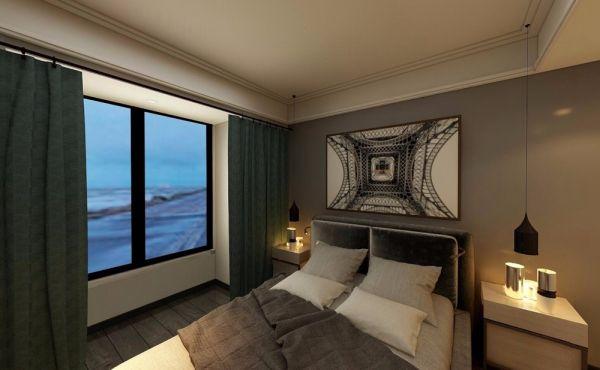 卧室灰色背景墙现代风格装潢效果图