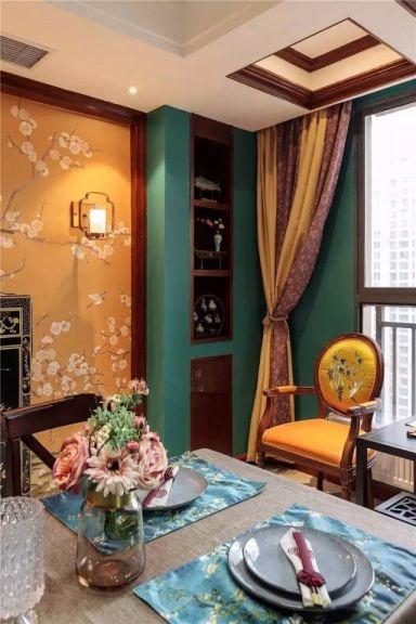 餐厅黄色窗帘混搭风格效果图