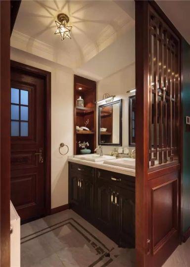 卫生间咖啡色洗漱台混搭风格装潢效果图