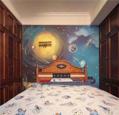 卧室彩色背景墙混搭风格装饰图片