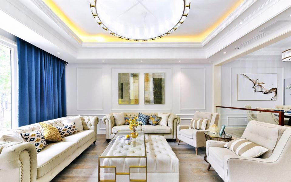 2019法式客厅装修设计 2019法式窗帘装修效果图片