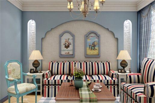 地中海风格80平米两室两厅室内装修效果图