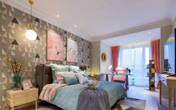 卧室彩色背景墙装饰图