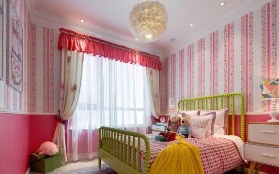 儿童房粉色背景墙现代简约风格装饰效果图