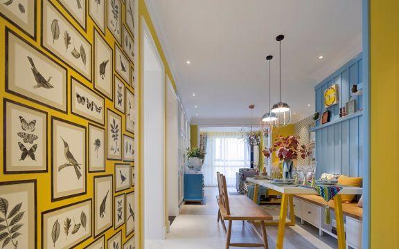 餐厅黄色餐桌现代简约风格装潢效果图