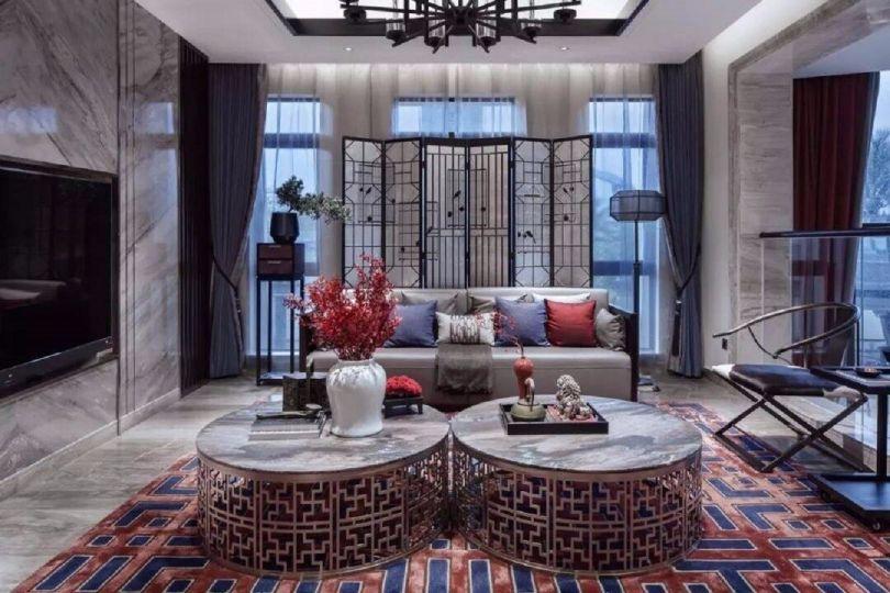 98平米新中式风格两室两厅室内装修效果图