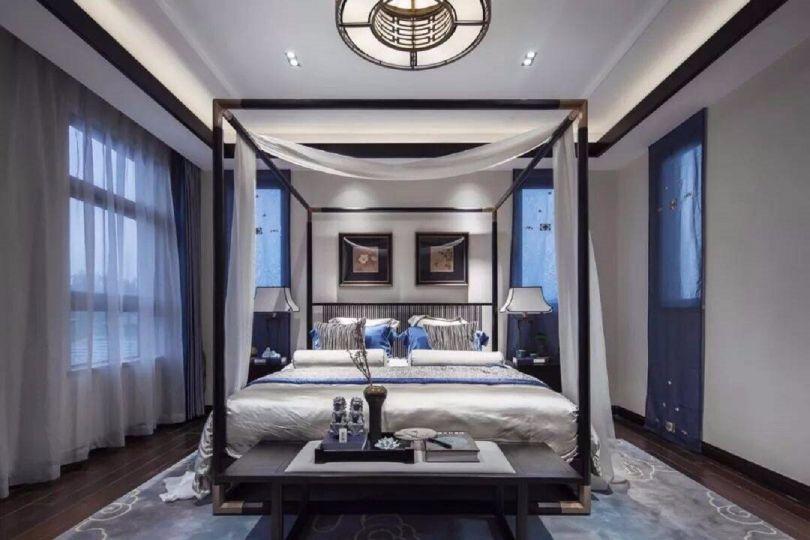 新中式风格98平米两室两厅新房装修效果图