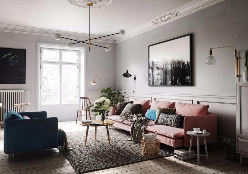 89平米北欧风格两室两厅室内装修效果图
